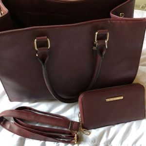 Call It Spring burgundy tote and matching wallet